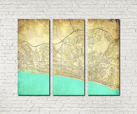 Brighton Street Map 3 Panel Canvas Wall Map 7115C3
