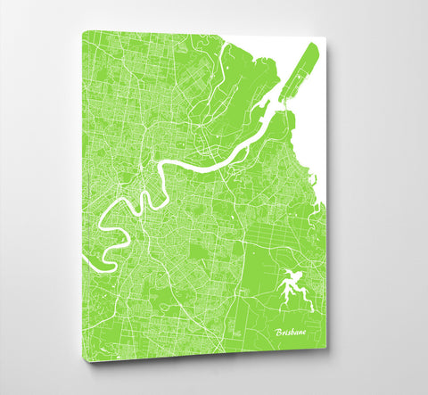 Brisbane City Street Map Print Modern Art Poster