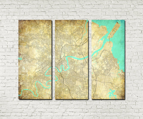 Brisbane City Street Map 3 Panel Canvas Wall Art 7009C3