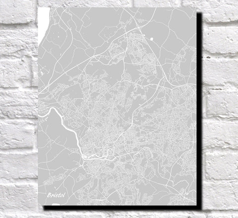 Bristol City Street Map Print Modern Art Poster