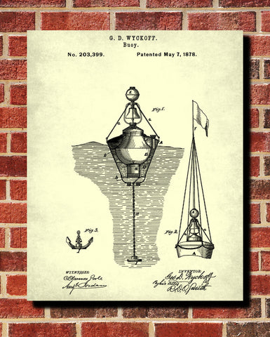 Buoy Patent Print Sailing Blueprint Nautical Poster - OnTrendAndFab