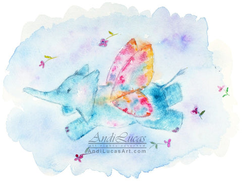 Butterfly Elephant Children's Nursery Wall Art Print