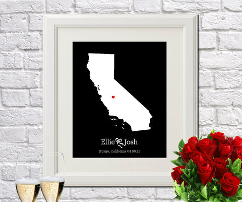 California Custom Wedding Engagement Art Print
