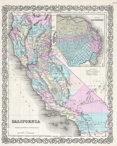 California State Map Print Vintage Poster Old Map as Art - OnTrendAndFab