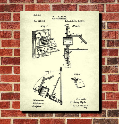 Camera Obscura Patent Print Art Science Wall Art