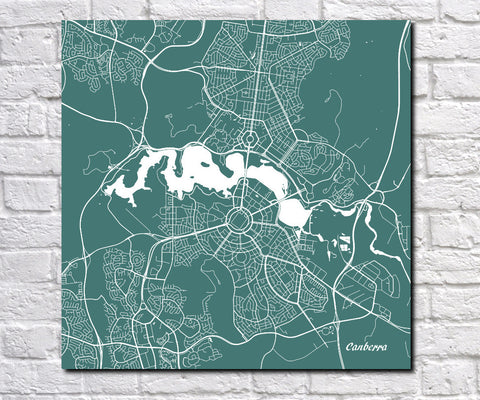Canberra City Street Map Print Modern Art Poster Home Decor - OnTrendAndFab