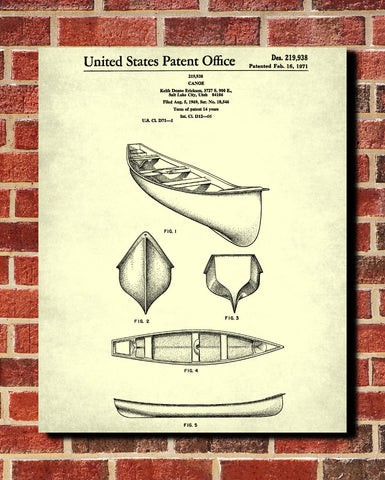 Canoe Patent Print Boating Blueprint Outdoors Poster - OnTrendAndFab