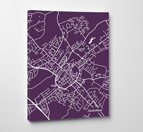 Canterbury City Street Map Print Modern Art Poster