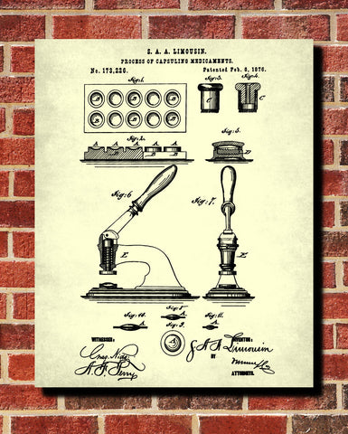 Capsuling Patent Print Pharmacy Blueprint Druggist Poster - OnTrendAndFab