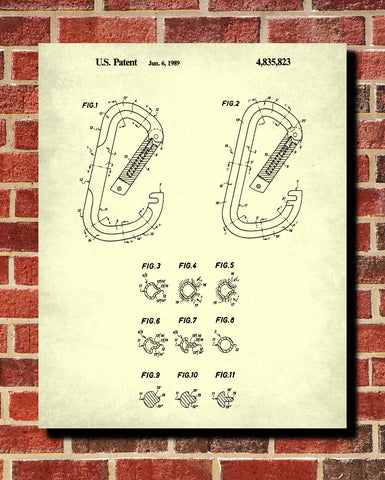 Carabiner Patent Print Climbing Blueprint Mountaineering Poster - OnTrendAndFab
