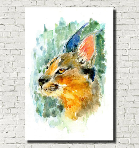 Caracal Watercolour Print, Andi Lucas Wildlife Art