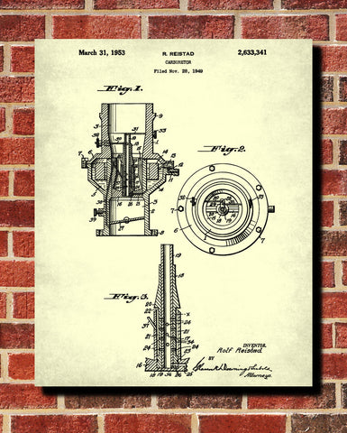 Carburetor Blueprint Engine Patent Print Mechanic Poster