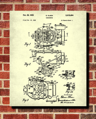 Carburetor Blueprint Engine Patent Print Garage Poster