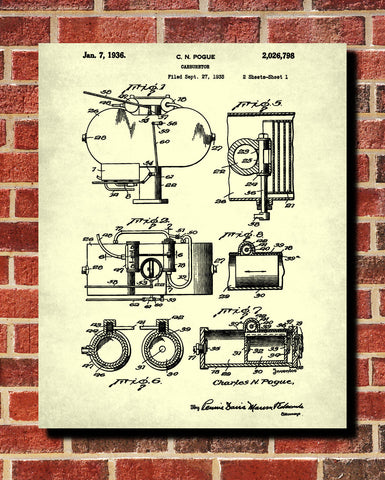 Carburetor Patent Print Engine Blueprint Mechanic Poster