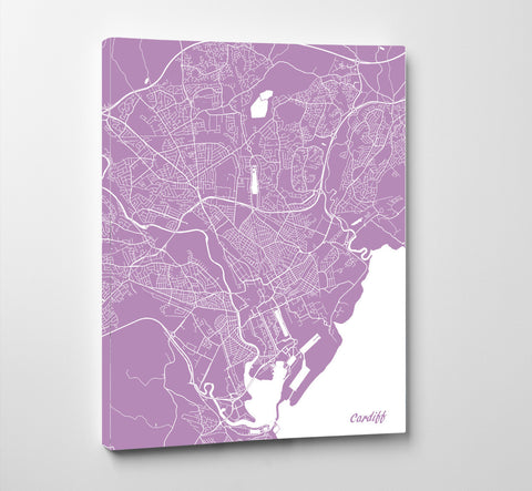 Cardiff City Street Map Print Feature Wall Art Poster