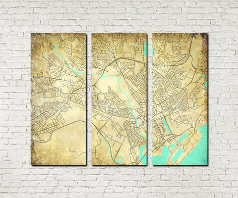 Cardiff Street Map 3 Panel Canvas Wall Map 7137C3