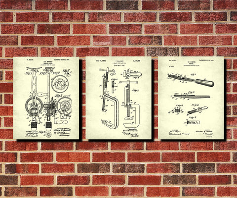 Carpenters Tools Patent Prints Set 3 Carpentry Blueprint Posters