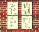 Carpenters Tools Patent Prints Set 4 Carpentry Wall Art Posters