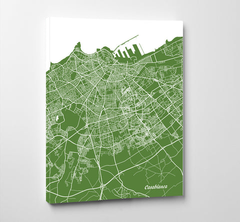 Casablanca City Street Map Print Feature Wall Art Poster