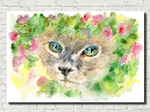 Siamese Cat Watercolour Print, Andi Lucas Wildlife Art