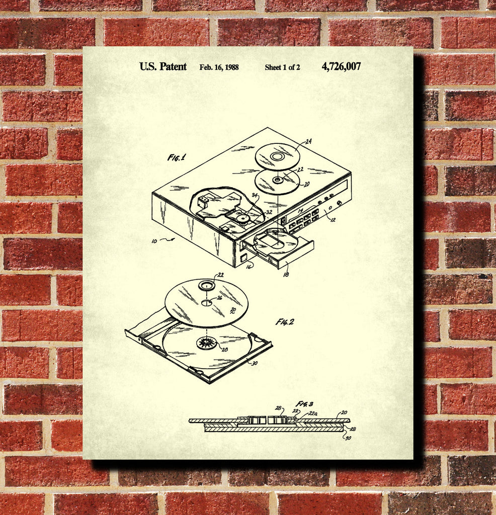 Cd player patent print music blueprint compact disc poster cd player patent print music blueprint compact disc poster malvernweather Choice Image