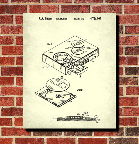 CD Player Patent Print Music Blueprint Compact Disc Poster