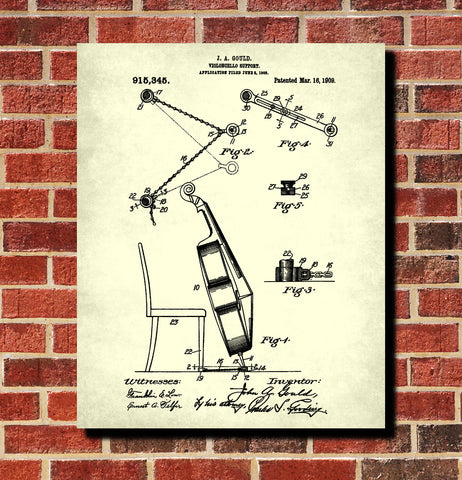 Cello Patent Print Orchestra Musical Instrument Wall Art Poster