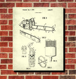 Chainsaw Patent Lumberjack Blueprint Forestry Poster