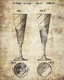 Champagne Flutes Glass Patent Print Bar Art Cafe Poster - OnTrendAndFab