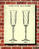 Champagne Flute Glass Patent Print Bar Art Cafe Poster - OnTrendAndFab