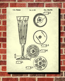 Champagne Flute Glass Patent Print Bar Art Cafe Poster