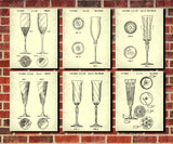 Champagne Patent Prints Set 6 Bar Art Posters - OnTrendAndFab