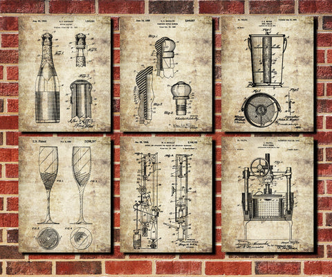 Champagne Patent Prints Set 6 Cafe Bar Art Posters - OnTrendAndFab