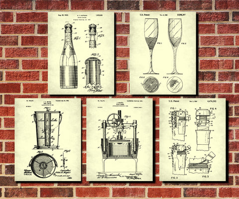 Champagne Patent Prints Set 5 Bar Posters Cafe Wall Art