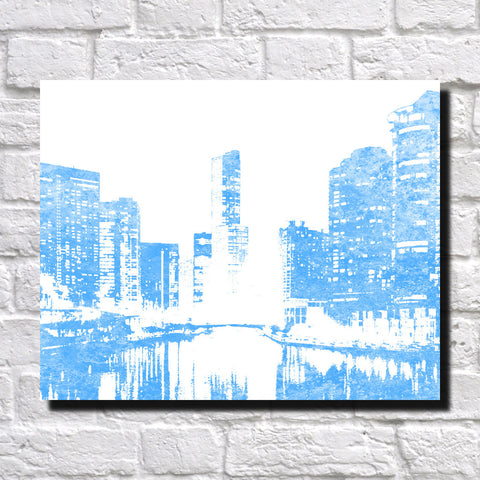 Chicago City Skyline Print Waterside Landscape Poster Feature Wall Art