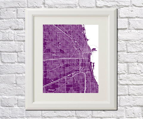 Chicago City Street Map Print Modern Art Poster