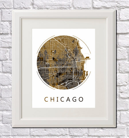 Chicago City Street Map Custom Wall Map Poster