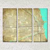 Chicago map 3 panel canvas