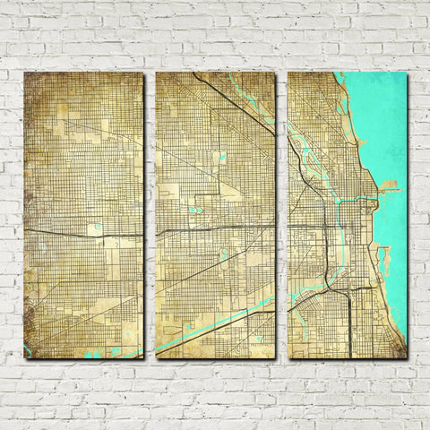 Chicago Map Canvas.Chicago City Street Map 3 Panel Canvas Wall Art 7002c3a Ontrendandfab
