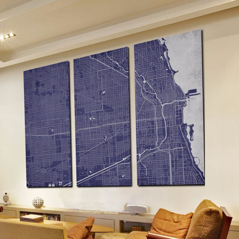 Chicago City Street Map 3 Panel Canvas Wall Art 7002C3B