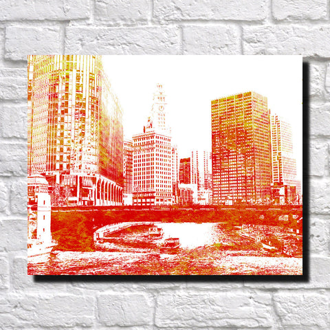 Chicago City Skyline Print Landscape Poster Feature Wall Art