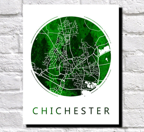 Chichester Street Map Custom Wall Map Poster