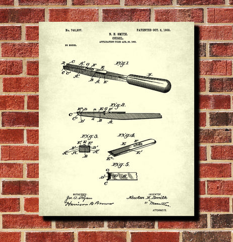 Carpenters Chisel Patent Print Hand Tools Blueprint Workshop Poster
