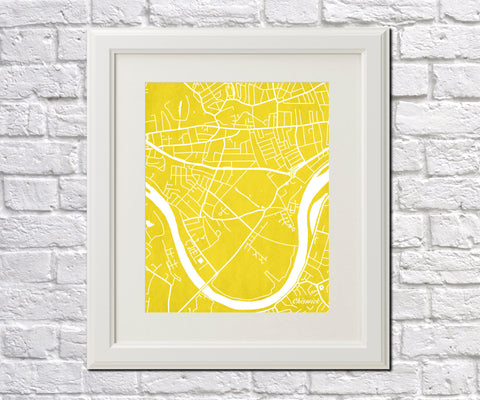 Chiswick London City Street Map Print Feature Wall Art Poster