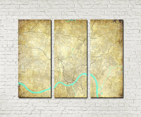 Cincinnatii Ohio City Street Map 3 Panel Canvas Wall Art 7187C3A - OnTrendAndFab