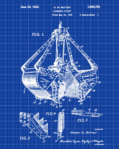 Clamshell bucket patent print construction blueprint mining poster clamshell bucket patent print construction blueprint mining poster malvernweather Choice Image