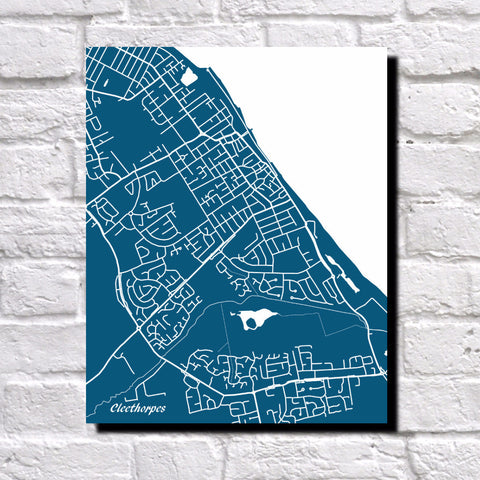 Cleethorpes, UK City Street Map Print Feature Wall Art Poster