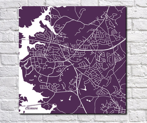 Clemson SC Street Map Print Custom Wall Map