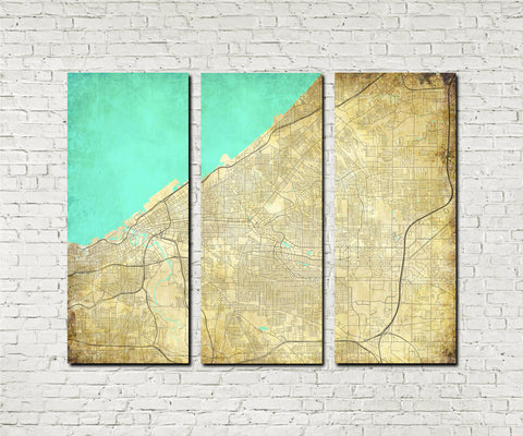 Cleveland Ohio City Street Map 3 Panel Canvas Wall Art 7119C3