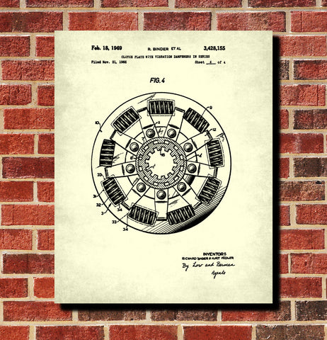 Clutch Plate Patent Print Garage Blueprint Workshop Poster